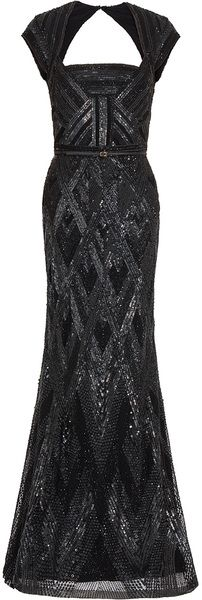 Elie Saab  Cap Sleeve Beaded Gown