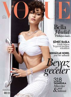 Model Bella Hadid lands the cover story 'Ciao Bella!' styled in white glamour by Konca Aycan . Photographer Sebastian Faena is behind the lens for Vogue Turkey May Hair by Tomi Kono; makeup by Seong Hee Park Vogue Covers, Vogue Magazine Covers, Elle Magazine, Img Models, Role Models, Bella Hadid Photoshoot, Sebastian Faena, Eighties Style, Fashion Cover
