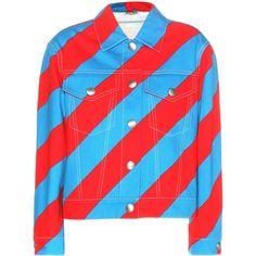 Miu Miu Printed Embellished Denim Jacket ($2,205) ❤ liked on Polyvore featuring outerwear, jackets, miu miu jacket, red jacket, colorful denim jackets, red denim jacket and embellished denim jacket
