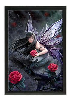 Rose fairy - Décoration fée - Cadre céramique imprimé - Anne Stokes