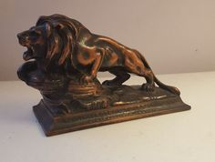 Small Bronze Paperweight Advertising Northwestern Glass Co Minneapolis Cast Lion