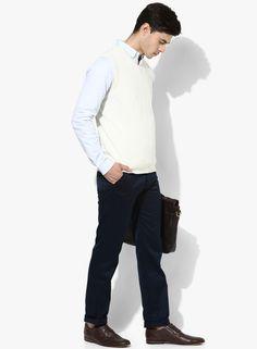 31949596755 Buy Raymond White Solid Slim Fit V Neck Sweaters Online - 5780912 - Jabong