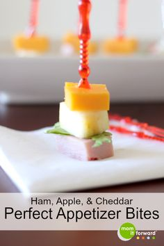 Ham, Apple, and Cheddar Appetizers Skewers