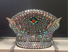 Jeweled Burning Man Hat; walking disco ball festival hat; rhinestone silver iridescent Playa perfect captain hat