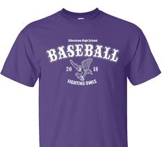 High School Impressions search BSE-004-W; 2018 Fighting Owls High School Baseball T-Shirts- Create your own design for t-shirts, hoodies, sweatshirts. Choose your Text, Ink and Garment Colors.  Visit our other boards for other great designs!