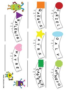 Shape Word Scramble ~ Printouts for Kids ~   Available in: Spanish, French, German, Italian & English