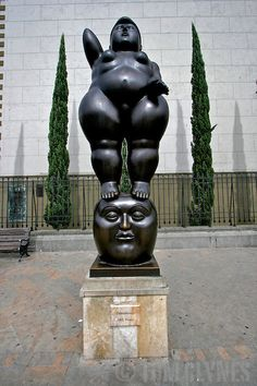 Fernando Botero statue of a female form, in the Plaza de Esculturas in Medillin, Colombia. Botero's statues are an important part of public life for Paisas (residents of Medellin)