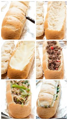Try making with Jimmy John's Day Old Bread! Use Schar gluten free french bread/baguette Gluten Free French Bread, Stuffed Baguette, Beef Recipes, Cooking Recipes, Recipies, Philly Cheese, Football Food, Sandwich Recipes, Cheesesteak