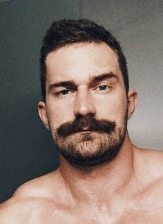 Mustache Styles, Beard No Mustache, Handlebar Mustache, Gay Beard, Face Men, Male Face, Hairy Men, Bearded Men, Moustaches