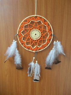 Dream Catcher, Dreamcatcher, wall hanging dreamcatcher,large dreamcatcher,Crochet Dreamcatcher,orange and yellow