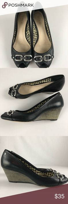 Coach Shelby soft calf Wedges Womens Size 7 Black Coach gorgeous and super comfortable Shelby wedge. Perfect for spring or summer! No major flaws. Used condition. No box. Tons of life left as the leather is very good.  Smoke free home! Make sure to check out my other listings! Coach Shoes Wedges