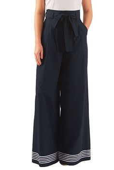 I am thinking sailor girl tap dancing on a cruise ship. 3 this High waist poplin palazzo pants from eShakti 1930s Fashion, Fashion Mode, Look Fashion, Fashion Outfits, Womens Fashion, Winter Fashion, Fashion Boots, Beautiful Outfits, Cute Outfits