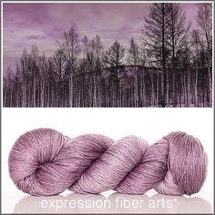 Expression Fiber Arts, Inc. - BIRCH FOREST SUNSET 'LUSTER' SUPERWASH MERINO TENCEL SPORT yarn -  muted plum/mauve, $24.00 (http://www.expressionfiberarts.com/products/birch-forest-sunset-luster-superwash-merino-tencel-sport.html)