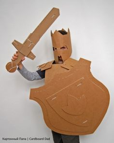 Cardboard knight, this would be fun for the kids to make before going to the Renaissance Faire Knight Costume, Knight Party, Cardboard Crafts, Cardboard Sword, Cardboard Boxes, Girls In Panties, Armor Of God, Cosplay Tutorial, Homemade Toys