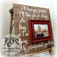 GRANDPARENTS GIFT Personalized Custom Picture Frame 16x16 Grandma Grandpa Grandparents The Sugared Plums on Etsy, $75.00