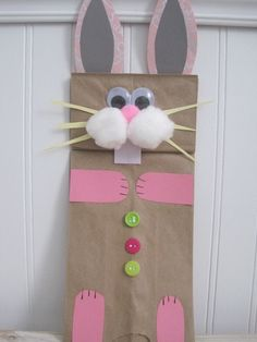 Preschool Crafts for Kids*: Easter Bunny Paper Bag Puppet Craft