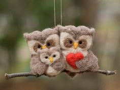 Needle Felted Owl Ornament  Family of Three by scratchcraft, $42.00