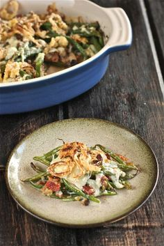 Bacon and Cheddar Green Bean Casserole with Crispy Shallots | The Hopeless Housewife.