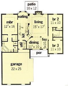1400-First Floor Plan of Traditional   House Plan 60205-make laundry room bigger do away w/dining area