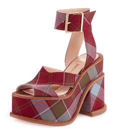 VIVIENNE WESTWOOD VIVIENNE WESTWOOD RED/ BLUE TARTAN CLOMPER SLAVE SHOE UK 8 EU41. #viviennewestwood #shoes #