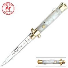 Kissing Crane Mother of Pearl Stiletto Folding Knife