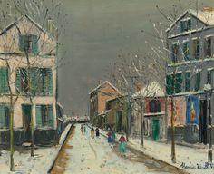 Townscape at Bourg-la-Reine under Snow. Maurice Utrillo (1883-1955)