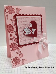 handmade Valentine card ... pink and red ... like this design ... Stampin' Up!