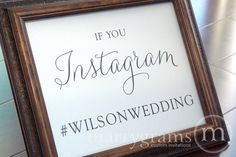Wedding Reception Instagram Sign - Social Media Wedding Sign - Matching Table Numbers Available  SS01. $14.00, via Etsy.