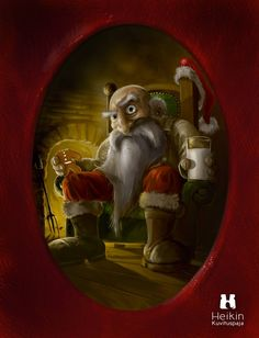 Merry Christmas from Heikin Kuvituspaja! Santa Claus is enjoying a gingerbread and a glass of milk. For more please check out my portfolio at http://www.heikkivayrynen.net Joulupukki, Joulu, digital painting, wacom. photoshop