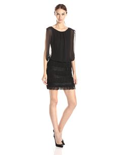 Aidan by Aidan Mattox Women's Multi Tier Lace and Fringe Blouson Dress >>> Check out this great image  : Dresses