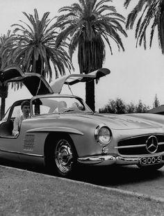 Mercedes Gullwing sports car.