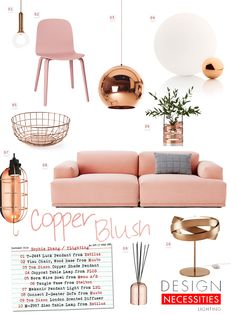Copper Blush has been trending all year, and will continue to as we head into the cooler months. Now's the time to add the heat and warmth of copper's earthy tone with a soft, delicate touch of blush to your modern space.
