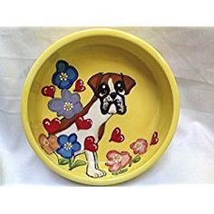 "Boxer 6"" Dog Bowl for Food or Water. Personalized at no Charge. Signed by Artist, Debby Carman."
