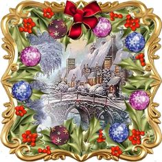 Through the Holly Bush 4 by David Cooke A kit making an card front with backing/inner and two gift tags. A gold scrollwork frame… Christmas Thoughts, Christmas Time, Christmas Cards, Xmas, David Cooke, Holly Bush, Seasonal Image, 1st Birthday Pictures, Printable Crafts
