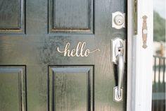 Rustic Front Door Decor. Script Hello Wood Sign from Woodums wood decor.