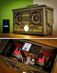 Talk about turning swords (in this case, bullets) into plowshares; the thodio A-BOX cal Ammo Can BoomBox heavy edition has to be one of the most unusual and ingenious speaker conversions I've se