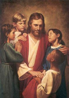 Christ and Children by Del Parson. I've met the artist and he is a good man of faith. Love his work.