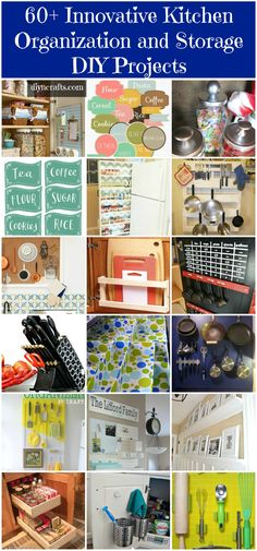 I normally don't bother with pins that I have to scroll through to see everything; I'm a one-at-a-time kind of Gal. However, this caught my eye, and it has some great tips.    60+ Innovative Kitchen Organization and Storage DIY Projects - #kitchen #diy #organizing