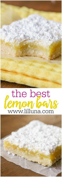classic Lemon Bars are simple, delicious, and sweet, with just the right amount of tart! Add a bit of powdered sugar, and these easy lemon bars are irresistible! They could make anybody a lemon bar believer! Mini Desserts, No Bake Desserts, Easy Desserts, Dessert Recipes, Baking Desserts, Desserts With Lemon, Healthy Lemon Desserts, Easy Delicious Desserts, Plated Desserts