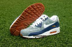 Officiel Nike Air Max 90 SJX Chaussures Nike Sportswear Pas Cher Pour Femme Bleu - Gris - Blanc