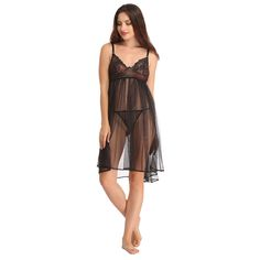 MESH & LACE BABYDOLL WITH MATCHING THONG - BLACK