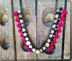 Burgundy-Black Bohemian necklace
