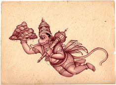 Lord Hanuman Carrying Mount Dron Full of Sanjeevani Herbs