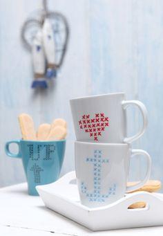 Kreuzstich, Tasse, Porzellan bemalen, Anker, Herz, maritim, schnelles Geschenk, DIY, produziert für Laviva