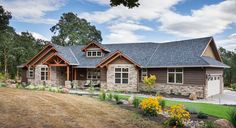 Beautiful craftsman ranch house plan 9215 features 2,910 square feet of exceptional living space. Highlights include a vaulted great room with fireplace, gourmet kitchen and large private master suite. http://www.thehousedesigners.com/plan/westfall-9215/