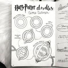 Harry Potter time turner doodle for bullet journal Harry Potter Drawings Easy, Harry Potter Sketch, Arte Do Harry Potter, Bullet Journal Aesthetic, Bullet Journal Art, Bullet Journal Inspiration, Journal Ideas, Harry Potter Journal, Desenhos Harry Potter