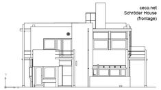 Rietveld Schrder House - frontage , in front view  Description for this Autocad drawing : architecture, attraction, building, dutch, eu, europe, european, gerrit, heritage, historic, historical, history, holland, house, landmark, modern, monument, museum, netherlands, rietveld, rietveld-schroderhuis, schreder, schroder, schroderhuis, site, stijl, tour, tourism, tourist, town, townhouse, travel, trip, unesco, utrecht, world