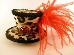 Leopard Print Hat, Leopard Mini Hat, Animal Print Hat, Leopard Fascinator, Tea Party Hat, Leopard Print Gift, Animal Print Gift, Mad Hatter by AbsolutelyFascinated on Etsy
