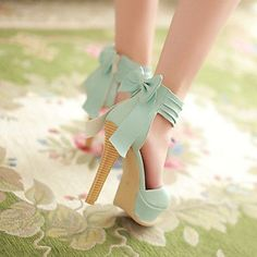 Women's Shoes Wide Ankle Strap Stiletto Open Toe Sandals In Candy Colors With A Bow At the Counter – USD $ 32.99