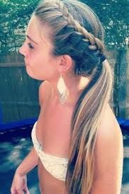 Image result for side french braid into a high ponytail